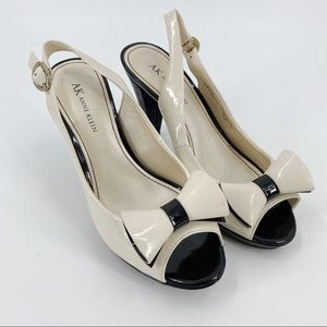Anne Klein cream sling back heels with bow